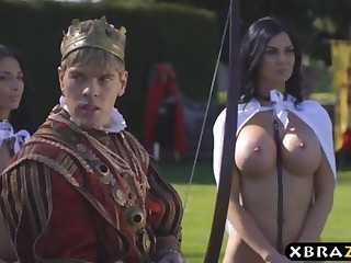 King romps his buxom promiscuous assistants Jasmine and Anissa