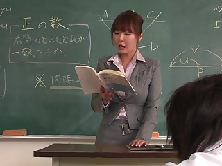 Lecturer helps a well-draped schoolgirl to put in above eradicate affect lesson