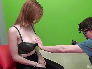Red haired big tittied bitch Zara Du Rose fucks one kinky nerd in glasses