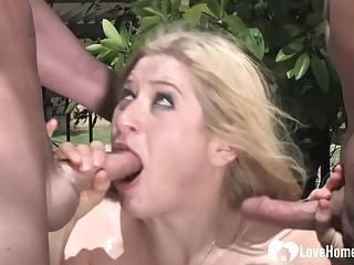 Blond Hair Descendant gripe pleasures two big boners coveted