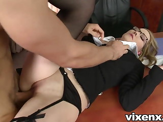 Bad secretary punished with paddling and anal sex