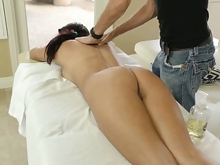Palatable pigtailed black head Monica Sage turns massage into wild mating