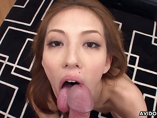 Great Asian blowjob by good-looking Japanese chick Sally Yoshino