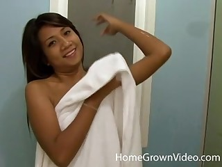 Exotic Asian teen babe gets a hardcore shower be thrilled by