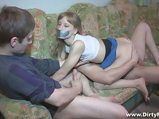 Pallid crumpet Sonja gets blindfolded and fucked doggy really hard by BF's buddy