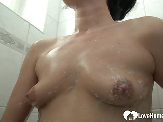 Beautiful unshaded pleasures herself to the fullest extent a finally taking a shower