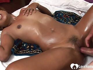 Slutty dark-skinned Japanese babe gets pounded hard sex