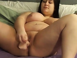 BBW shoves a dildo in personally on cam 2