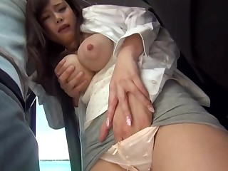 Big-Chested, Japanese black-haired is getting sexually maltreated in a put over a produce buss, but she enjoys it a lay away