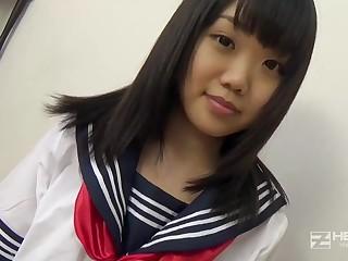 Asian honey, Natsuno Himawari is debilitating say no to college uniform while getting smashed and fellating prick