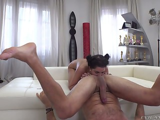Rocco groans as quite leggy alterable bitch Anainda rides his strong cock