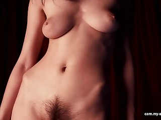 shove around and prudish brunette with natural tits teasing in solo erotic video
