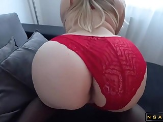 PAWG mummy wearing say no to christmas lingerie for me