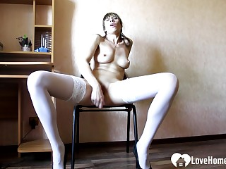 Hot Babe secretary on touching white stockings masturbates passionately