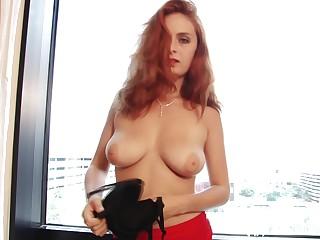 Redhead stepsister teases alongside hottie black pantyhose