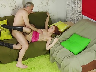 Old man shows this redhead proper orgasms