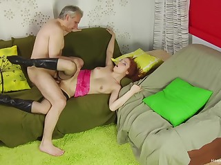 Older gent taps into a oversexed redhead's active sexuality