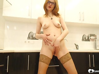 Raunchy secretary masturbates in the office's scullery