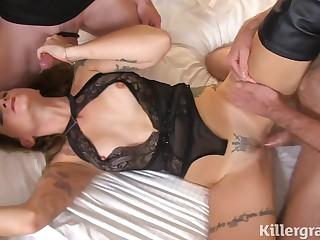 Slim MILF off one's chump gangbang porn video