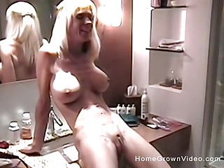 Homemade video be required of a blonde wife with expansive special having sex