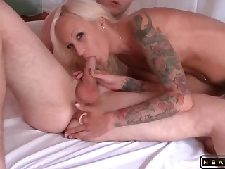 Tattooed Blond Mom Banging Their way Husband