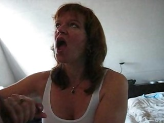 Piping hot milf blowing hubby dick and drink cum