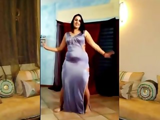 Chubby Egyptian woman dancing
