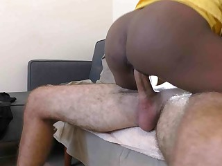 Slim black whore sucks and get fucked
