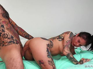 Deep anal be expeditious for the tattooed wife in a fleshly POV