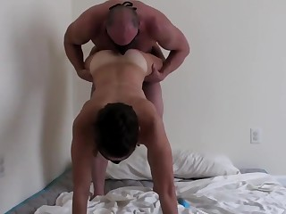 Hubby plus his wife fuck hard ending it with a cumshot