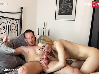 MyDirtyHobby - Stunning blonde model in lingerie fucks director